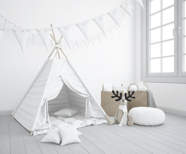 Realistisches kindliches zelt mit spielzeug in einem schlafzimmer