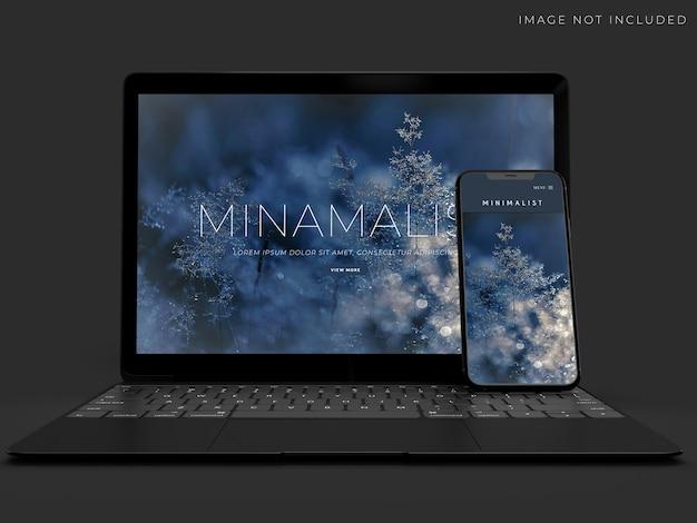 Realistisches laptop- und smartphone-modelldesign