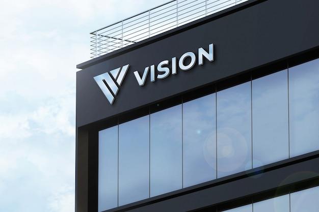 Realistisches logo mockup 3d sign firmengebäude