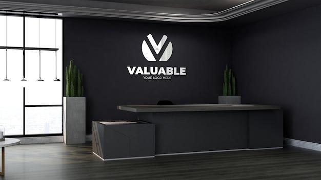 Realistisches logo-mockup im modernen büro an der rezeption oder im rezeptionsraum