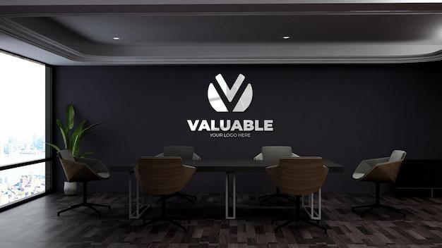 Realistisches logo-mockup im modernen business-meeting-bereich