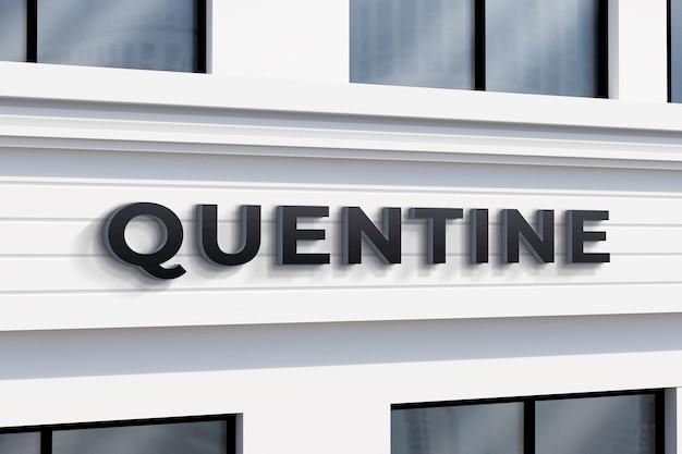 Realistisches logo mockup store sign wandgebäude