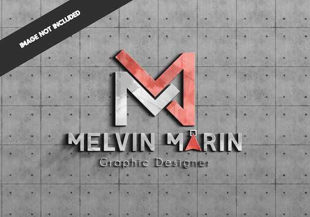 Realistisches logo-modell auf betonwand