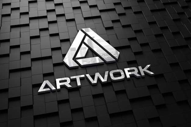 Realistisches logo-modell auf einer dunklen wand