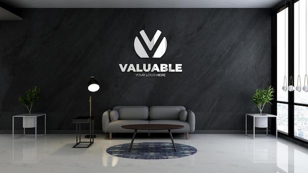 Realistisches logo-modell im wartezimmer der bürolobby mit minimalistischem sofa-design-interieur