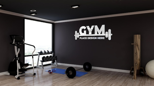 Realistisches logo-modell in einem modernen fitness- und fitnessraum gym