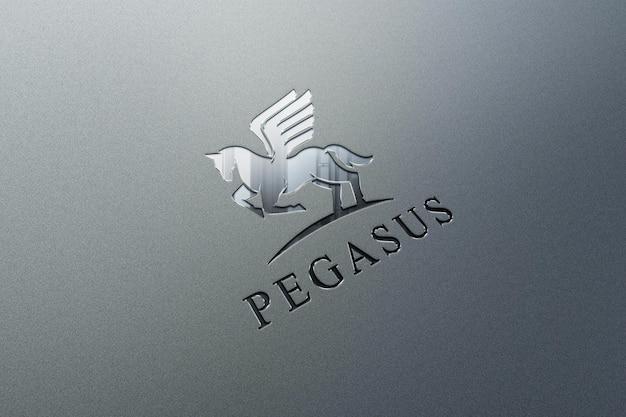 Realistisches logo-modell mit geprägtem effekt