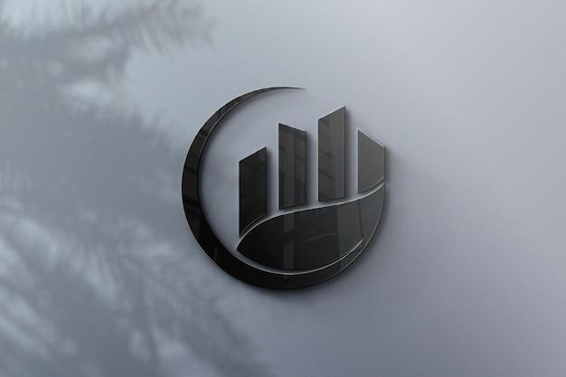 Realistisches logo-modelldesign in der wand
