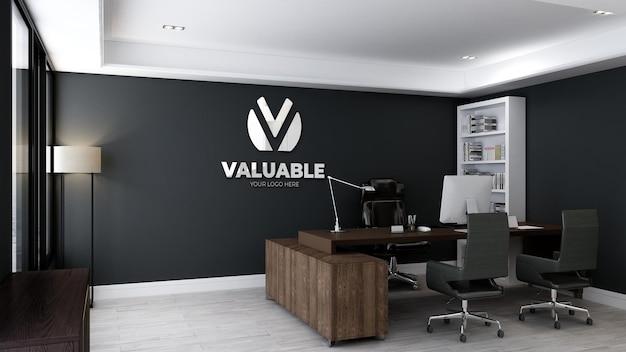 Realistisches logomodell im büroleiterraum