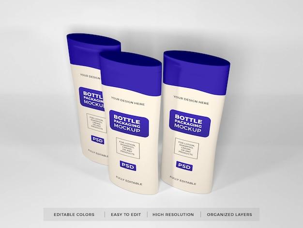 Realistisches lotion cream und shampoo bottle mockup