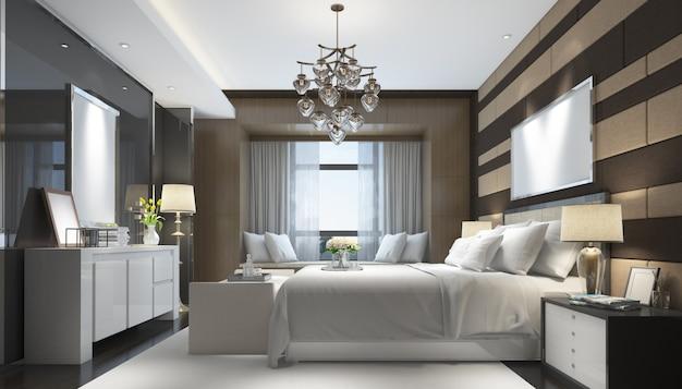 Realistisches modernes doppelzimmer mit möbeln und rahmen