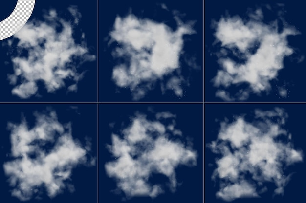 Realistisches nebelwolken-set