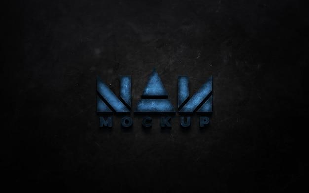 Realistisches neonfarbenes logo-mockup-design isoliert