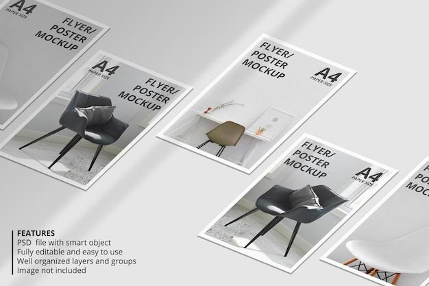 Realistisches papier- oder flyer-broschüren-mockup-design mit schattenüberlagerung