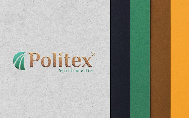 Realistisches papiergeprägtes mockup-logo