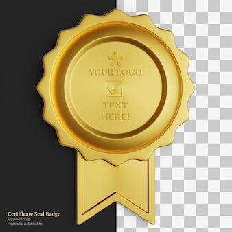 Realistisches premium-goldener kreis zertifikat siegel abzeichen band editierbares modell