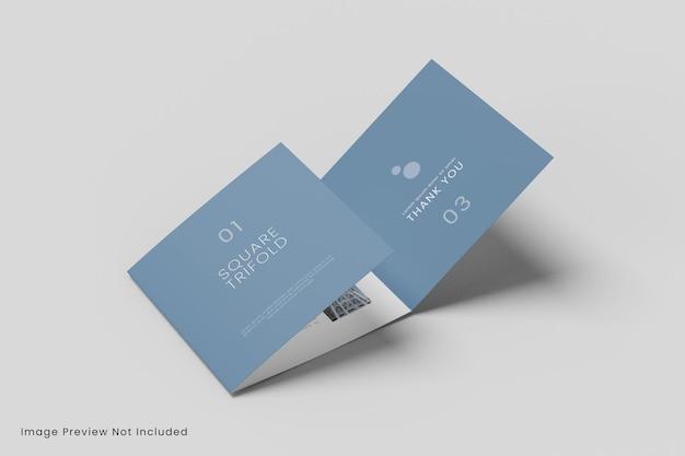 Realistisches quadratisches dreifach gefaltetes broschürenmodell