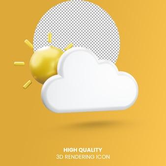 Realistisches rendering-wettersymbol 3d mit wolke und sonne