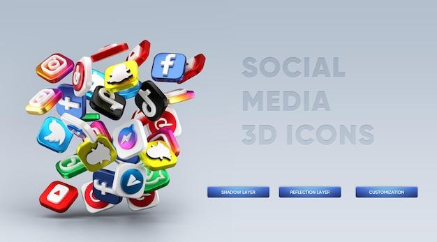 Realistisches rendern von 3d-social-media-symbolen
