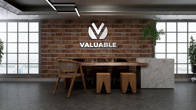 Realistisches restaurantlogomodell mit backsteinmauer