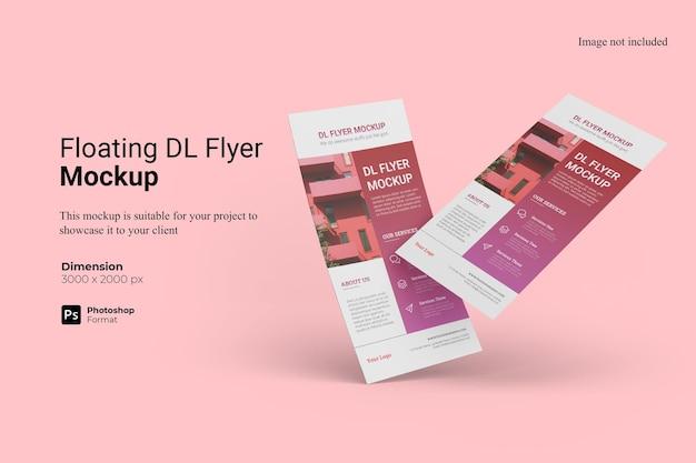 Realistisches schwebendes dl-flyer-modelldesign