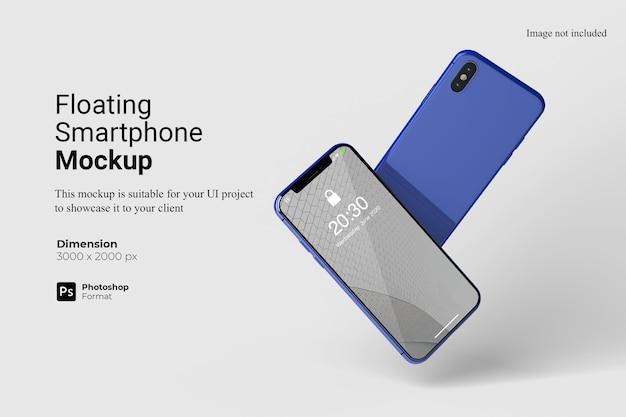 Realistisches schwebendes smartphone-modelldesign