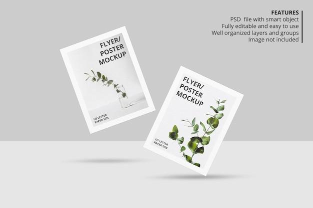 Realistisches schwimmendes papier- oder flyerbroschürenmodelldesign