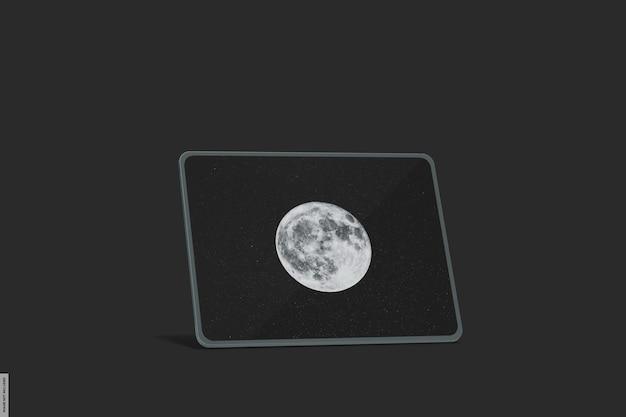 Realistisches smart-tablet-modell mit dunklem licht