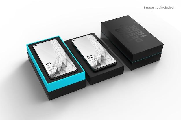 Realistisches smartphone mit box-modell