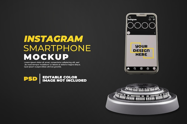 Realistisches smartphone-modell mit instagram isoliert