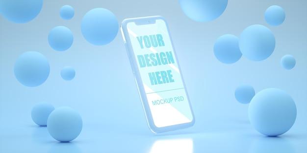 Realistisches smartphone-modelldesign in 3d-rendering
