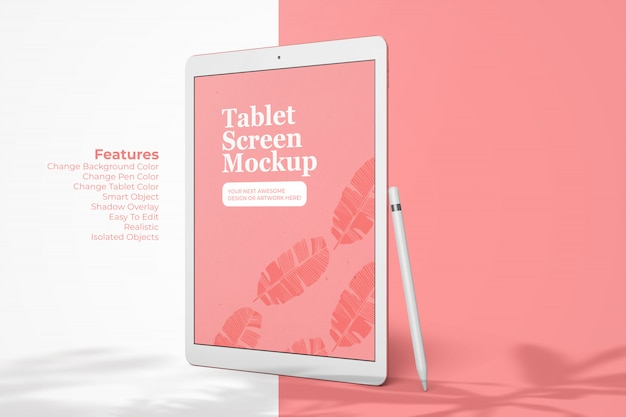Realistisches tablet-gerät von pad pro 12.9inch screen mockup template