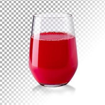 Realistisches transparentes glas des roten saftes isoliert Premium PSD