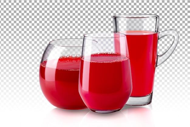 Realistisches transparentes glas des roten saftes isoliert