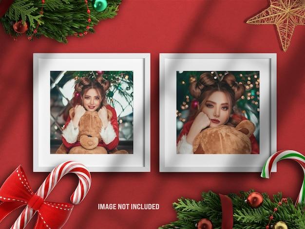 Realistisches und minimalistisches fotorahmenmodell oder moodboard für frohe weihnachten und ein glückliches neues jahr mit 3d-rendering-dekoration