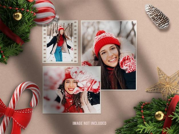 Realistisches und minimalistisches moodboard-mockup oder papierfotorahmen-mockup für frohe weihnachten und ein glückliches neues jahr