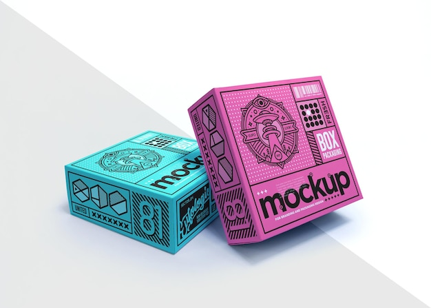 Realistisches verpackungsbox-mockup-design isoliert