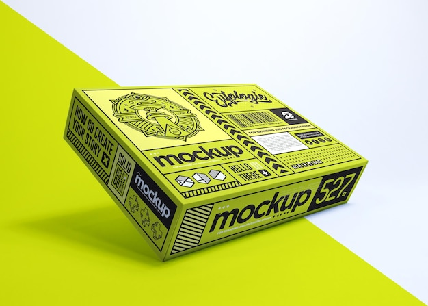 Realistisches verpackungsdesign der grünen box isoliert
