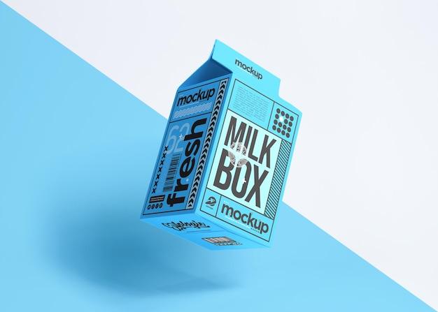 Realistisches verpackungsdesign der milchbox isoliert m