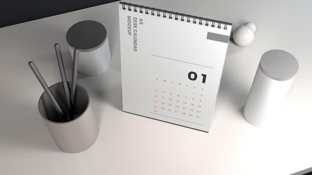 Realistisches vertikales tischkalender-mockup-design mit hoher betrachtungswinkel