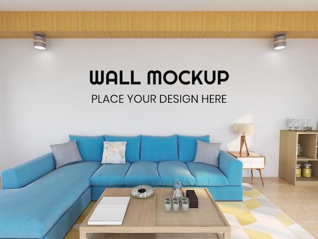 Realistisches wandmodell des inneren wohnzimmers