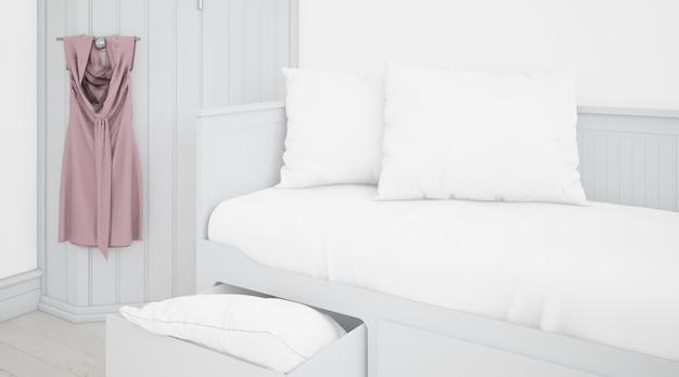 Realistisches weißes schlafzimmer mit möbeln
