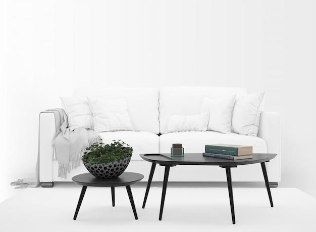 Realistisches weißes sofamodell mit tabelle