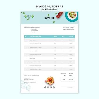 Rechnung des restaurants mit gesunden lebensmitteln