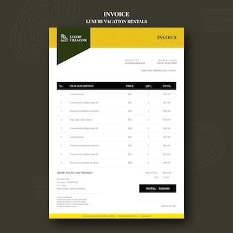 Rechnungsvorlage für luxusferienwohnungen