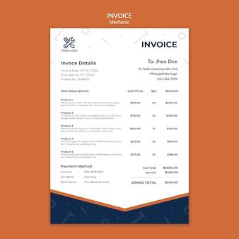 Rechnungsvorlage für mechanikerreparaturen