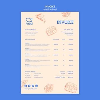 Rechnungsvorlage mit amerikanischem essen