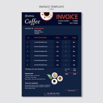 Rechnungsvorlage mit kaffee