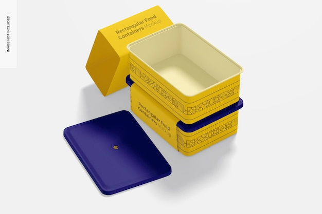 Rechteckige lebensmittelbehälter aus kunststoff modell, gestapelt