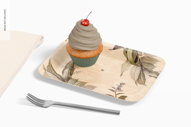 Rechteckiger dessertteller mit cupcake-mockup